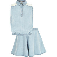 River Island Girls blue denim top and skirt outfit