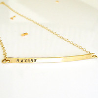 Gold Nameplate Necklace - Personalized Bar Necklace - 14k Gold or Rose Gold - Name Bar Necklace