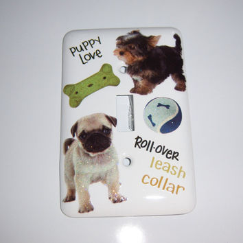 Puppy love steel single light switch cover