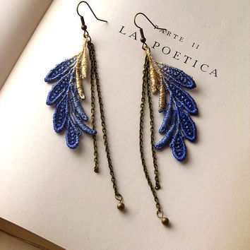 lace earrings ELSA cobalt and metallic by whiteowl on Etsy