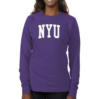 NYU Violets Ladies Basic Arch Long Sleeve Slim Fit T-Shirt - Purple