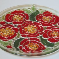Fused Art Glass Plate, Red and Green Flowers, 11 Inch Round Home Decor