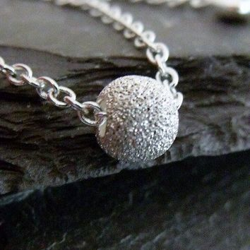 Silver Beaded Necklace Sterling Silver by pinkingedgedesigns