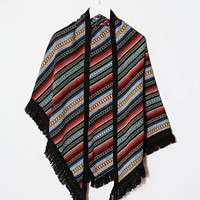 ASOS Triangle Scarf In Black Aztec With Fringing