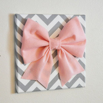 Large Light Pink Bow on Gray and White Chevron 12 x12 by bedbuggs