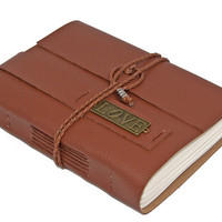 Light Brown Vegan Faux Leather Journal with Love Charm Bookmark