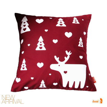 Moose Christmas Pillow 13 Inches Square