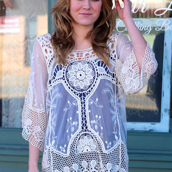 Crochet + Lace Overlay Top {Natural}