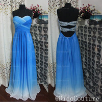 Custom Made Blue Ombre Chiffon Sweetheart Bridesmaids Dress Prom Open Back Sexy Prom Dress,Evening Dress