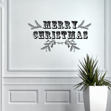 Christmas Vinyl Wall Decal Merry Christmas with Greenery 22492