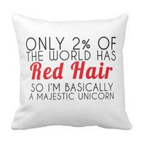 Red Hair Majestic Unicorn Throw Pillow for Bed or Sofa