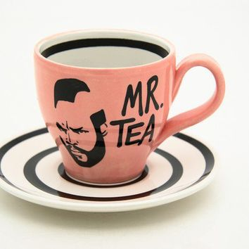 Mr Tea Pink Teacup and Saucer by LennyMud on Etsy