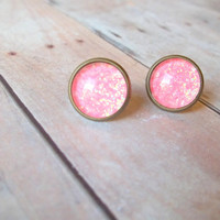 P I N K - Bright Coral Pink Glitter Sparkle Photo Glass Cab Circle Bronze Post Stud Earrings