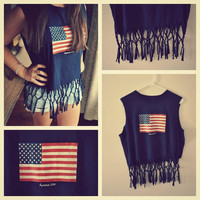 Repurposed Fringed Navy American Flag Tank / Shirt / Summer / Women's