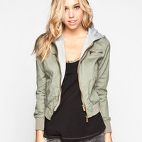 Full Tilt Fleece Hooded Womens Twill Jacket Olive  In Sizes
