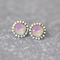 White Opal Rainbow Earrings Swarovski Crystal Rhienstone Studs Rhinestone Rainbow Diamond Pendant Necklace Mashugana