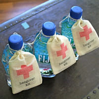 DIY Hangover Kit, first aid for wedding guests. Wedding favor bags, muslin, 2x4. Set of 25. Funny wedding favor.