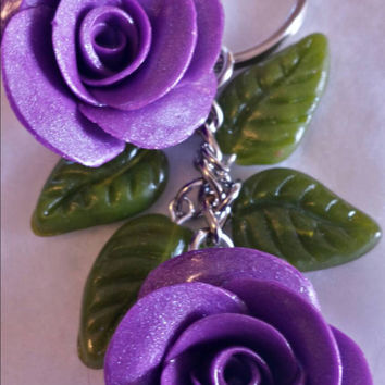 Purple roses purse charm/keychain.