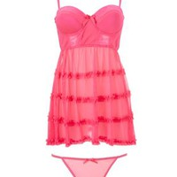 Mesh Ruffle Chemise & Thong Set by Charlotte Russe