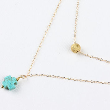 """Gold cross necklace, turquoise cross necklace,layering necklace, tiny charm necklace,turquoise pendant,14k gold,layered necklace, """"Ephyra"""""""