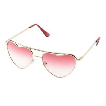 Gold Heart-Shaped Aviator Sunglasses by Charlotte Russe
