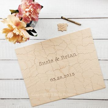 Custom Wedding Guest Book Puzzle WOOD style