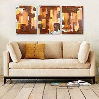 SALE - TAPESTRY original abstract modern paintings - gallery fine art - contemporary interior design - ooak home wall decor - brown copper
