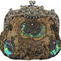 MG Collection Elaine Antique Beaded Rose Purse, Olive Green, One Size