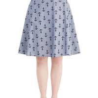 ModCloth Nautical Long A-line Sassy to Shining Sea Skirt
