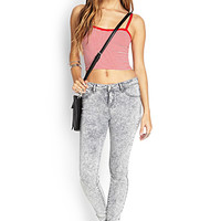 FOREVER 21 Stone Wash Skinny Jeans Grey