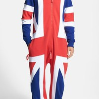 Men's ZOOOP iT UP United Kingdom Flag Zip Hoodie Jumpsuit,