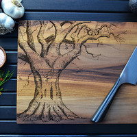 Personalized Cutting Board, Wedding Gift, Custom Engraved Oak Tree, Carved Heart,  Anniversary Gift, Kitchen Art, Love Tree