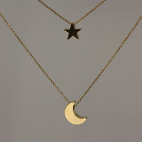 New Moon Star double gold chain Necklace  - Free Shipping in US - Mothers Day, Spring gift idea