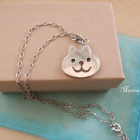 Sterling Silver Pendant Cat with Opal by MarinaKermanJewelry