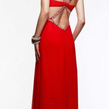Knotted bodice long dresses by Faviana