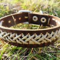 Brown Leather and Hemp Ropes Woven Adjustable by braceletcool