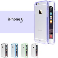 """iPhone 6 Case, Pack of 5 Ace Teah Case for iPhone 6 (4.7"""") Features Clear Back Panel with Rubber Bumper / Durable Bump & Shock Protection Secure Grip - Black, White, Purple, Blue, Green"""