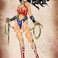 Wonder Woman Inspired Typographic Print and Poster