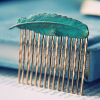 Patina Feather Hair Comb - Gold Plated Brass