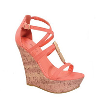STRAPPY WEDGE HEEL - nude