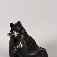 Buckle Cut Out Round Toe Ankle Bootie