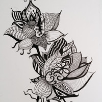 """Lotus Flowers Pen and Ink Print 8"""" x 10"""", Home Decor Artwork - Yoga Inspired"""