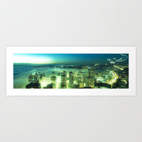 Seattle Emerald Moon and Stars Art Print by Christine Aka Stine1
