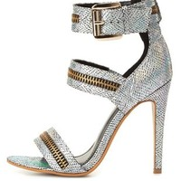 Zipper Embellished Holographic Strappy Heels