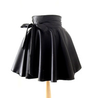 Wet Look Circle Skirt, High Waisted Skirt, Black Satin Rockabilly Skirt, Sizes:UK 6-16/US 2- 12