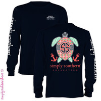 Simply Southern Collection Preppy Turtle Chevron Anchor Long Sleeve T Shirt