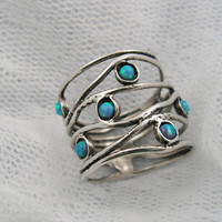 Opal and sterling silver BIG ocean wave ring sr9904 by MayaOr
