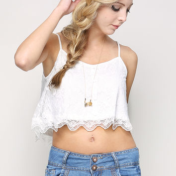 Lace Overlay Crop Cami