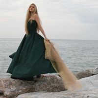 Costume Corset  green gown dress fantasy medieval renaissance
