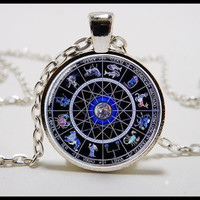 Zodiac necklace and pendant  - Glass dome pendant  - zodiac sign Jewelry - astrology signs